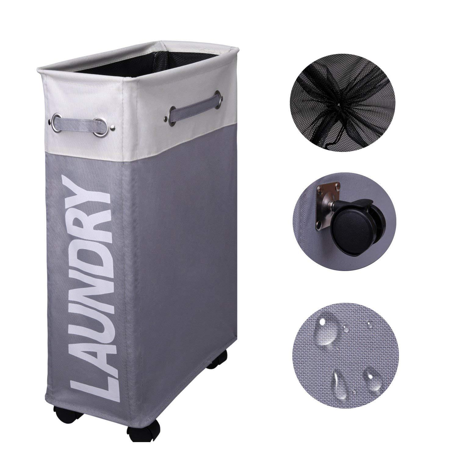 2019 Rolling Corner Laundry Basketslim Laundry Hamper With Mesh