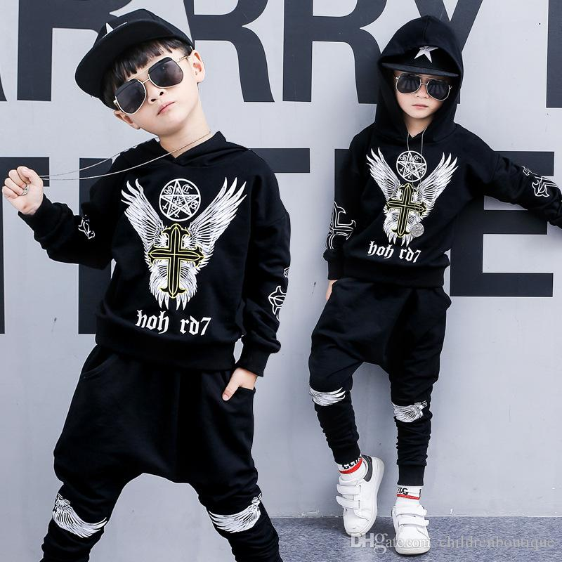 d7098e9084a1 2019 Fashion Korean Boys Clothes Set Kids Clothing Children Sport Outifits  Newest Autumn Spring Kids Long Sleeve Hoodie+Pants Sets Outfits From ...