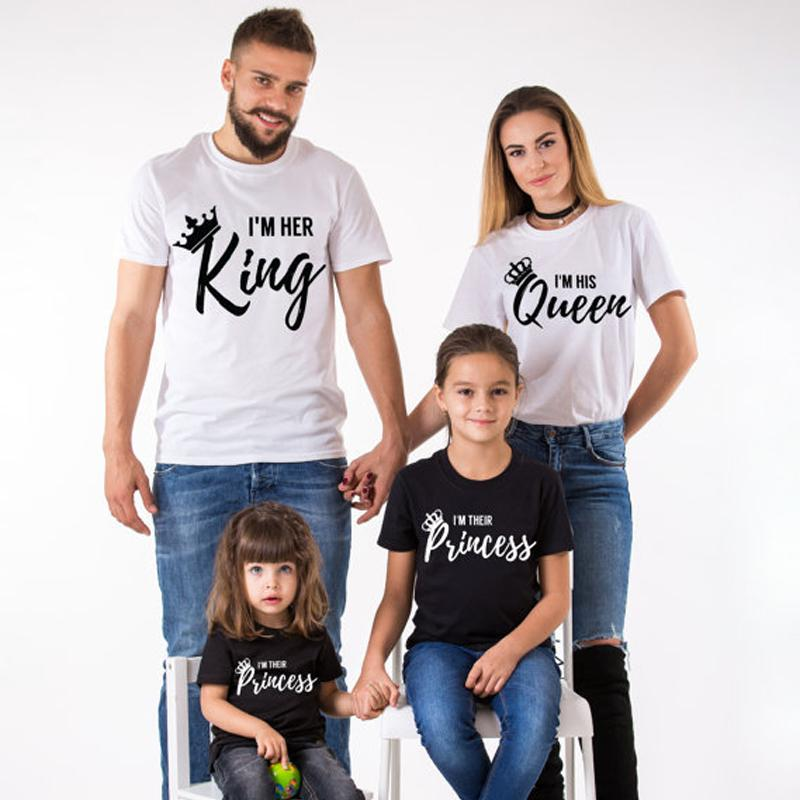 47e2d1f59 2018 Summer Matching Family Clothes Casual Solid Short Sleeve Cotton T Shirt  King Queen Couples T Shirt Crown Printed Funny Tops Design Your Own T Shirts  ...
