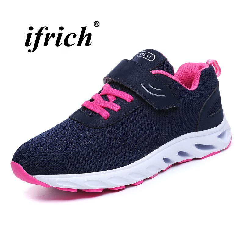 überlegene Materialien Herbst Schuhe tolle sorten Neue Trend Gym Turnschuhe für Frauen Blau Grau Jogging Wanderschuhe Fly  Draht Günstige Schuhe Damen Bequeme Athletische Lauf