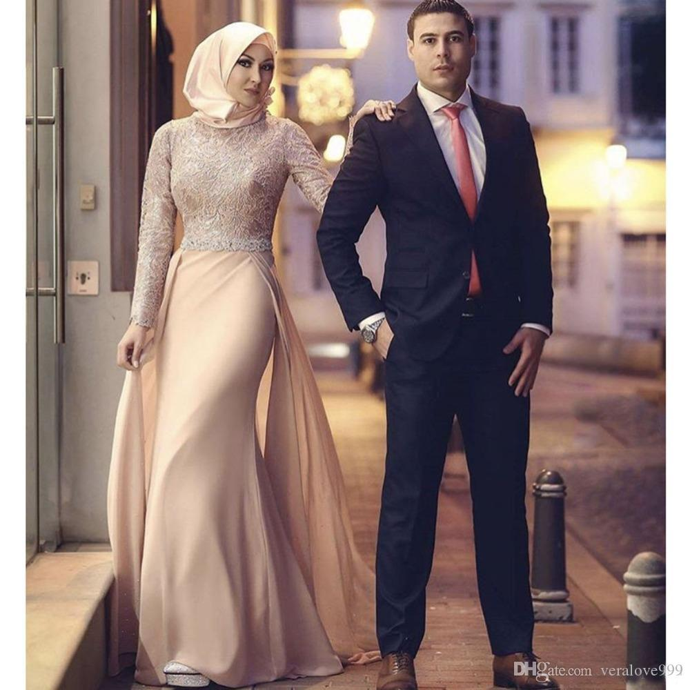 274d3f886cb28 2017 Glamorous High Collar Lace Long Sleeve Mermaid Muslim Prom Dresses  With Train Beads Evening Gowns Plus Size Mother Of The Bride Dresses  Evening Maxi ...