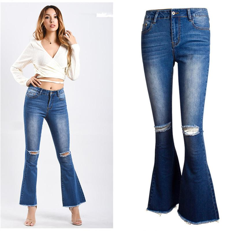 7bd631bd432 2019 Plus Size 2018 Sexy Vintage Distressed Mom Jeans For Women Denim Flare  Pents Ripped Jeans For Women From Chencloth66