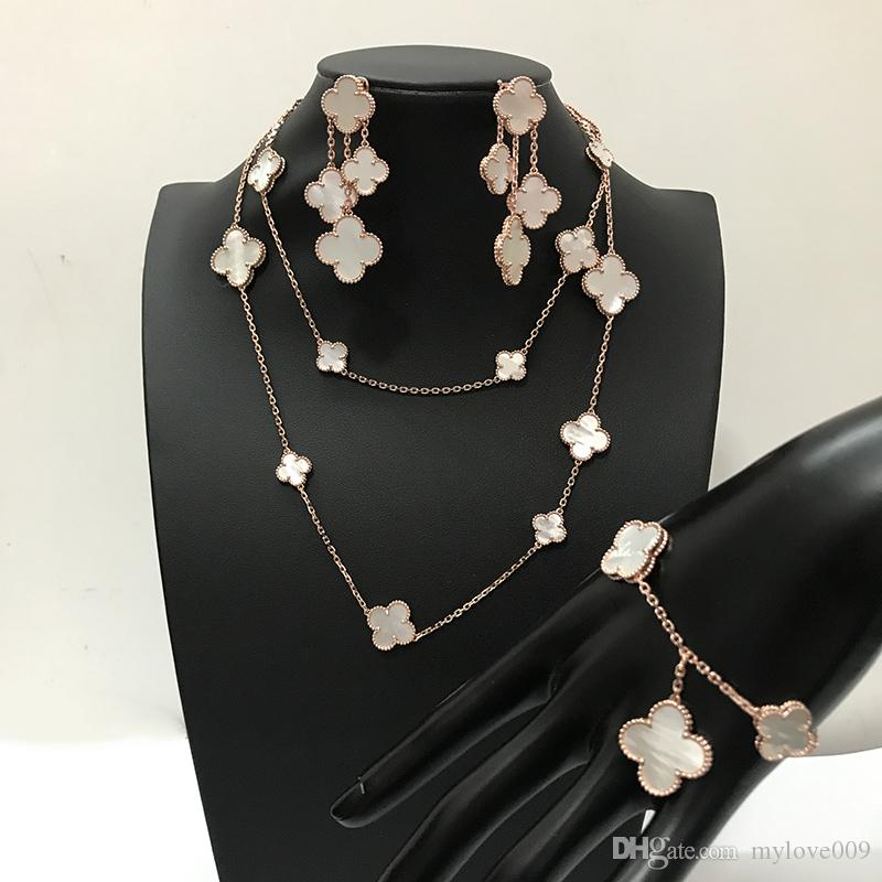 Fashion brand 925 silver four leaf flower jewelry set for women wedding necklace bracelet earrings white mother pearl shell clover jewelry