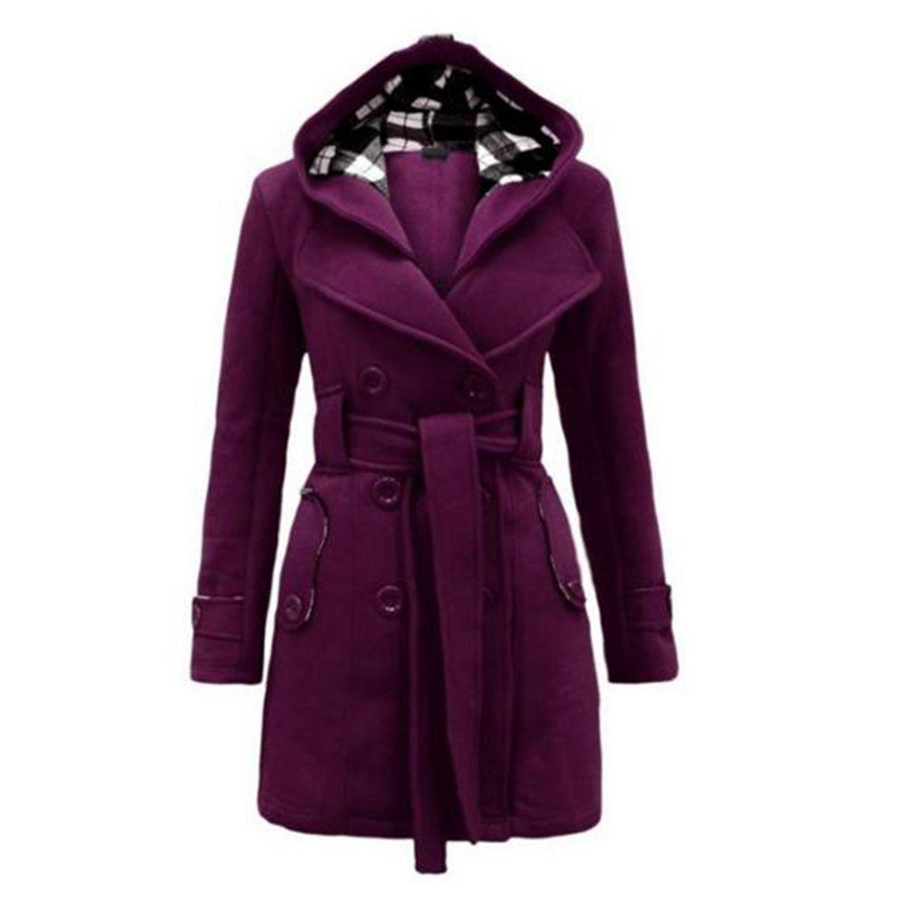 3a89643889 2018 Autunno Cappotto elegante donna viola cappotti Slim cintura pianura  ragazze inverno caldo femminile High Street rosso grigio cappotti
