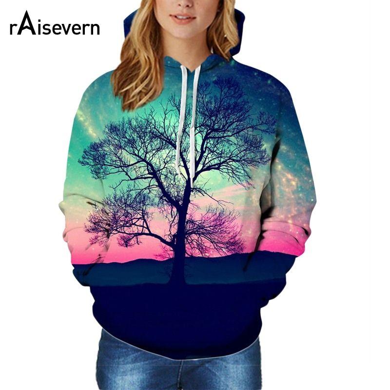 1598072b385 Raisevern Fashion Galaxy Space Tree Print 3D Hoodies Autumn Hooded ...