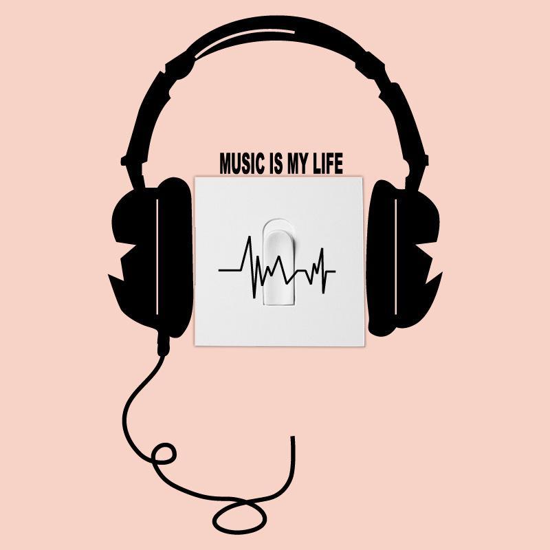 Music Is My Life Headphones Wallswitch Sticker Vinyl Living Room