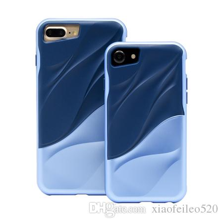 2 in 1 Luxury 3D Water Ripple Ultra Slim Silicone TPU + PC Funda Shockproof Durable Phone Case For Apple Iphone 7/8