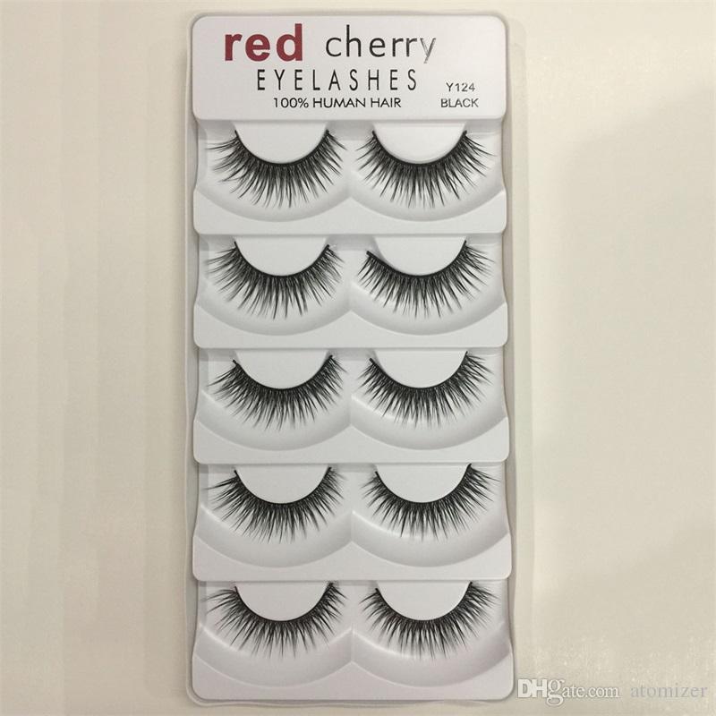 Red Cherry 3D Ciglia finte 5 paia / pacco 8 Stili Naturale Lungo Trucco professionale Occhi grandi Alta qualità 3001224