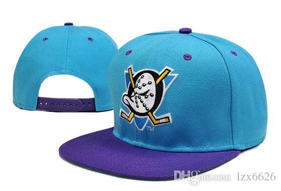 new style b6005 6b712 Top Quality Popular Men s Anaheim Mighty Ducks Snapback Hats In Blue Color  Team Logo Embroidery Sport Adjustable Ice Hockey Caps