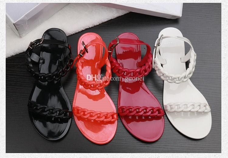 2018 New Summer Plastic Kette Strand Schuhe Candy Farbe Gelee Sandalen Kette flachem Boden Sandalen