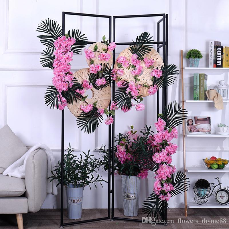 Grosshandel Sakura Blume Wand Hochzeit Blumen Bogen Kirschblute