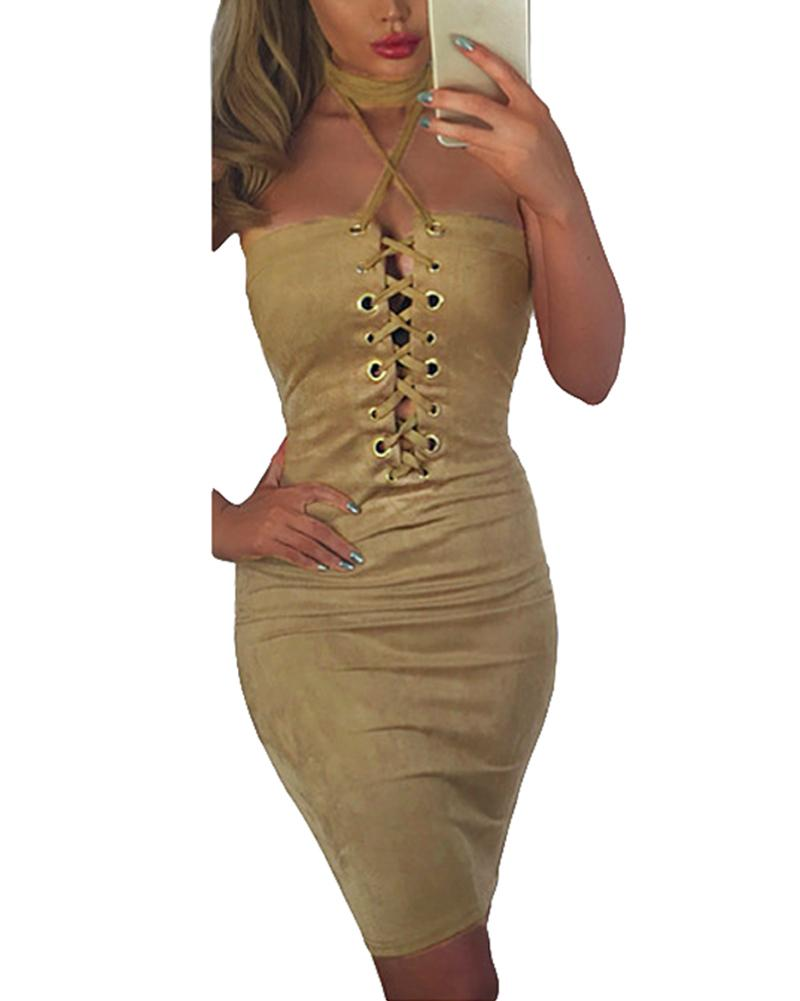 Faux Suede Lace Up Tube Dress Women Slim Casual Summer Bandage ...
