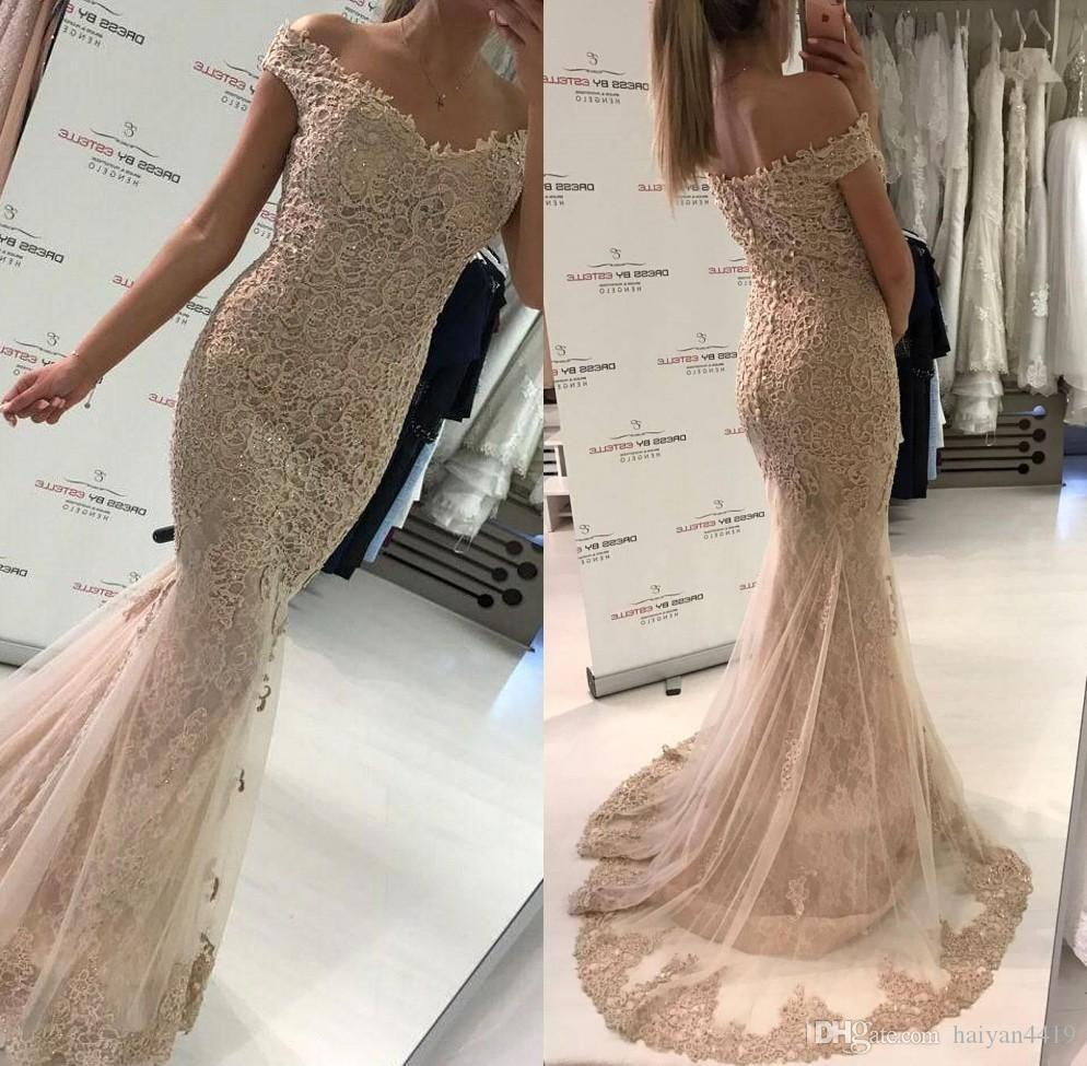 9e9dec88c4ef 2018 Full Lace Mermaid Champagne Prom Dresses Off Shoulder Applique Beads  Button Back Tulle Sweep Train Plus Size Evening Party Pageant Gown Long Prom  ...