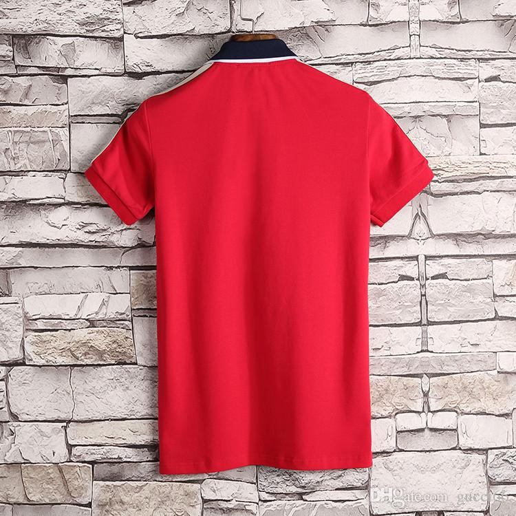 Marca nova moda de luxo de design clássico t do polo das camisas de manga curta Mens Polo bordados cobra abelha polos