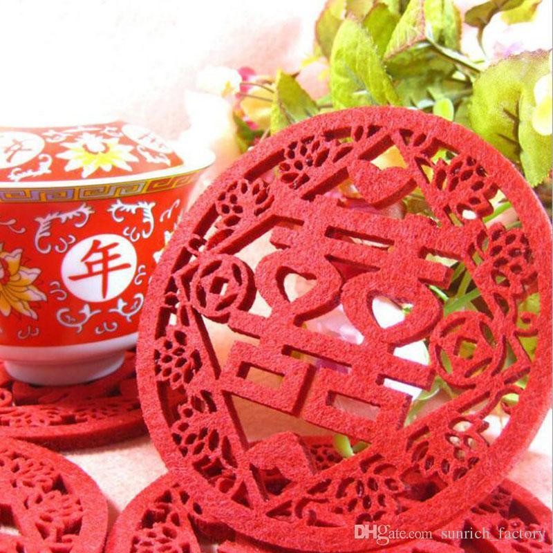 2270d7cb5 2019 Traditional Chinese Style Double Happiness Coasters Non Woven Fabric  Wedding Table Decoratioon Party Favor Gift ZA6143 From Sunrich_factory, ...