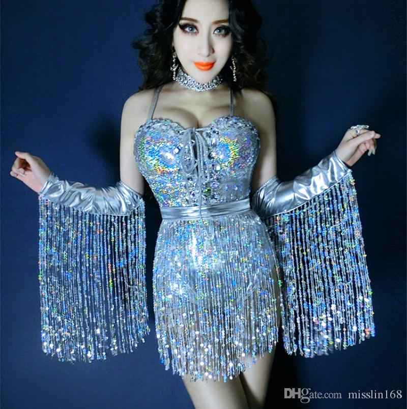 2019 New Female Singer Dance Costume Silvery Tassels Sexy Bodysuit Sequin  Diamond Jumpsuit Stage Wear Nightclub Bar Jazz DJ Show Performance Wear  From ... 258205a1669e