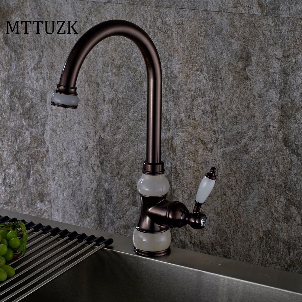 2018 Mttuzk Oil Rubbed Orb Brass Jade Faucets Kitchen Faucet Antique ...