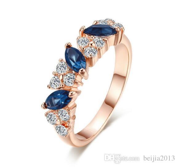 Высокое качество ювелирных изделий зеленый слеза Кристалл женщины кольцо розовое золото цвет австрийские кристаллы полные размеры обручальные кольца Оптовая