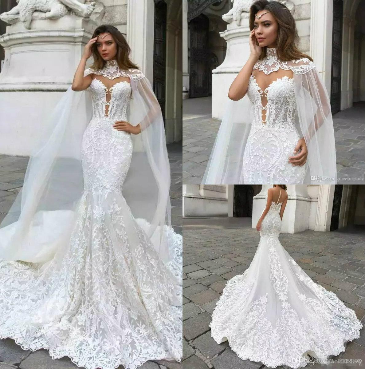 bc4889735e3 2018 Beach Mermaid Wedding Dresses Sheer Neck Lace Bridal Gowns With Cape  Vestido De Novia Boho Plus Size Wedding Dress Formal Dress Kate Middleton  Wedding ...