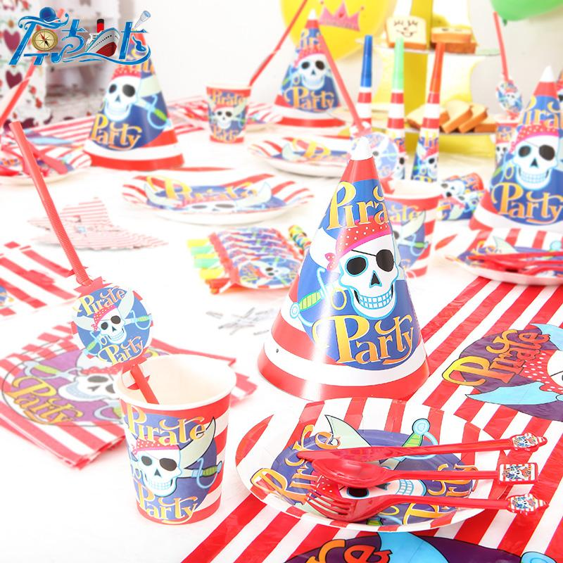 Really High quality pirate party decoration unit items happy birthday kids baby girl boy party set suppliers