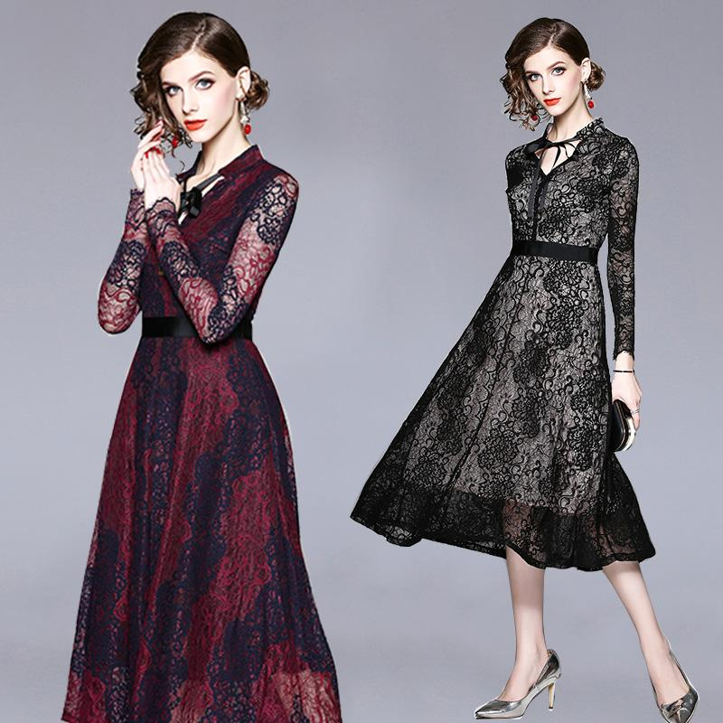 Autumn Dress Lace Hollow Out Office Lady Unique Neck Purple Red Black Women  Dress Plus Size For Party Date Engagement UK 2019 From Clothes zone 6b85870586d1