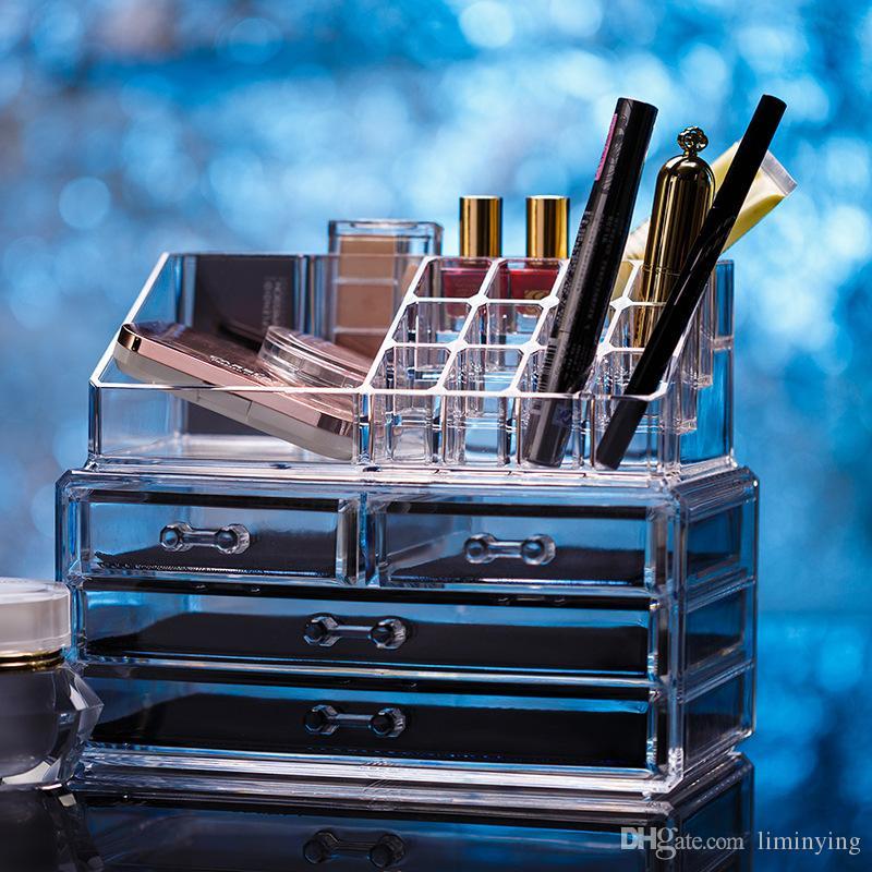 Maquillage acrylique Organisateur de maquillage Boîtes de présentation de bijoux Boîte de rangement pour salle de bains 2 pièces W / 4 grands tiroirs