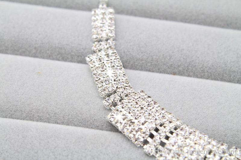 Wholesale Bridal Jewellery Sparkly Diamond Rhinestone Earrings Necklace Sets Cheap Wedding Jewelry Set For Prom Party