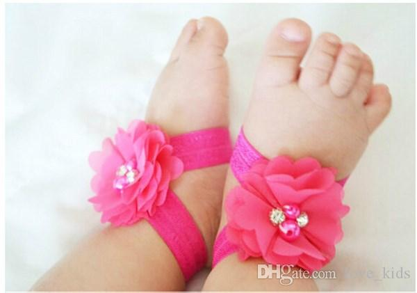 colourful foot flower barefoot sandals+headband set for baby infant girls toddler baby girls flower headbands foot flower hair band set
