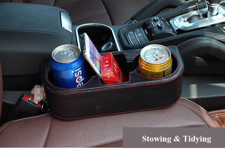 Car Styling Seat Gap Organizer PU Cup Holder Multifunction Vehicle Cellphone Pens Drink Leak Proof Storage Box Custom Holders