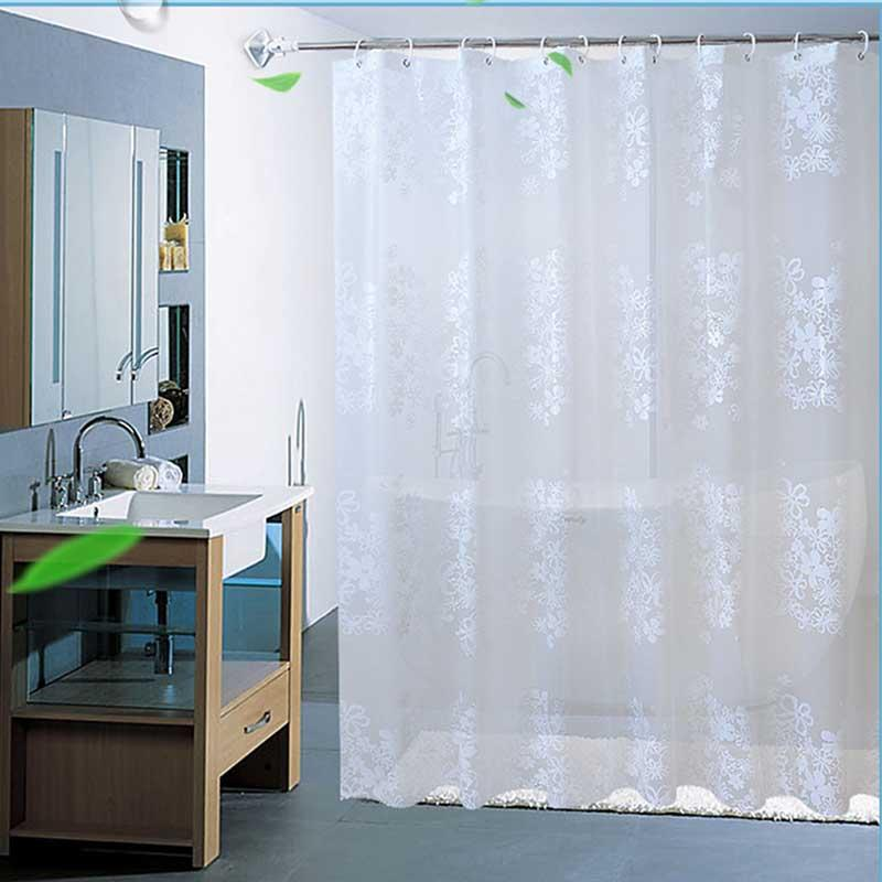 2019 White PEVA Bath Curtains Flower Eco Friendly Waterproof Mildewproof Shower Curtain Bathroom Product Cortina Ducha Drop Shipping From Aliceer