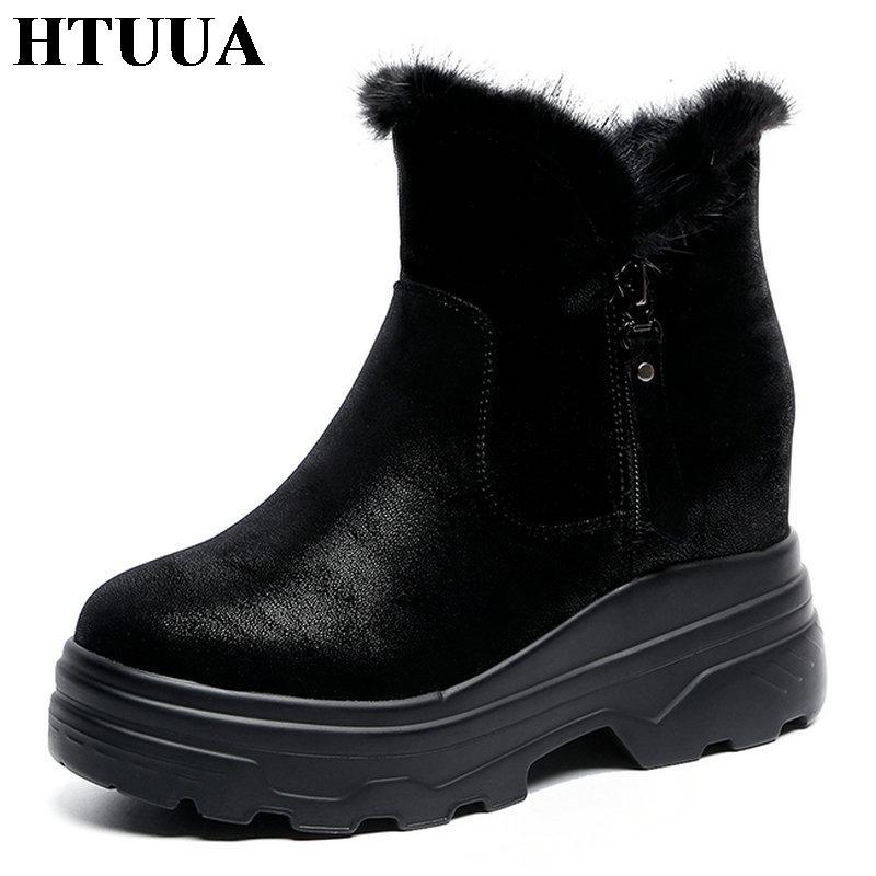 Gros noir épais talon plateforme cheville bottes pour les femmes casual chaud en peluche hiver chaussures faux suède courtes Martin neige bottes