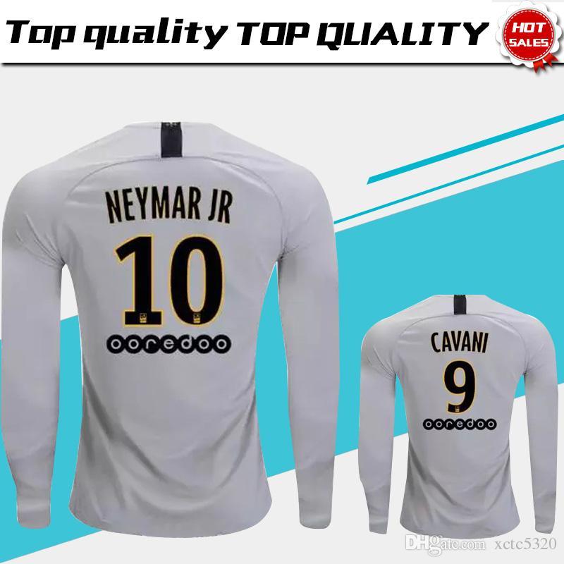 detailing 76294 a4bc5 Long Sleeve #7 MBAPPE PSG Away Soccer Jersey 18/19 #10 NEYMAR JR Paris  Saint-Germain Soccer Shirt 2019 #9 CAVANI Away Football Uniform