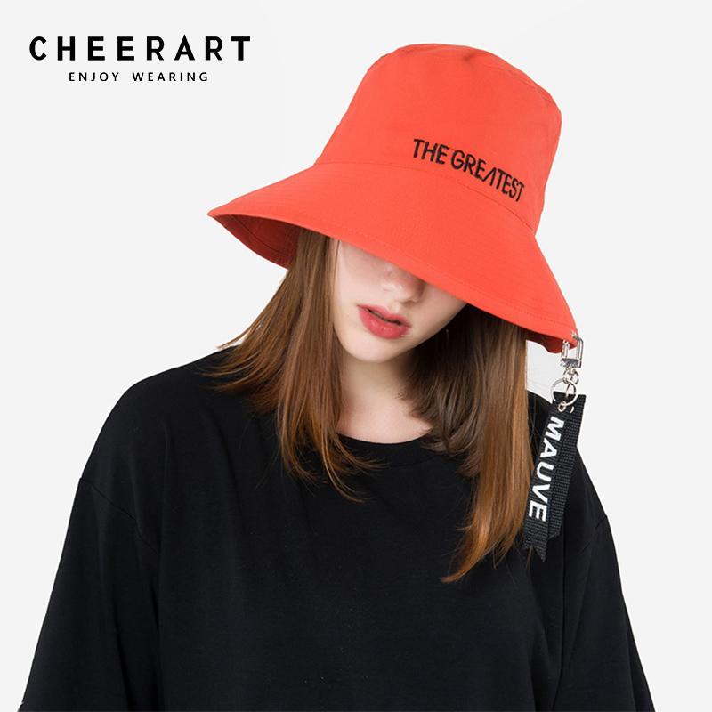 11d00f062882e Cheerart Bucket Hat Women Letter Fishing Hat Summer Ribbon Sun Orange Black  Bucket Cap Trilby Hats Hat Store From Rainbowwo