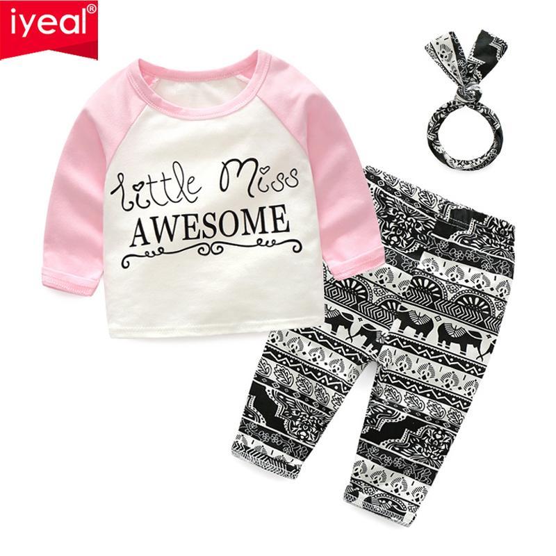 1af8c7119668 IYEAL Toddler Kids Girls Clothes Set Cotton Letter Tops T-shirt + ...
