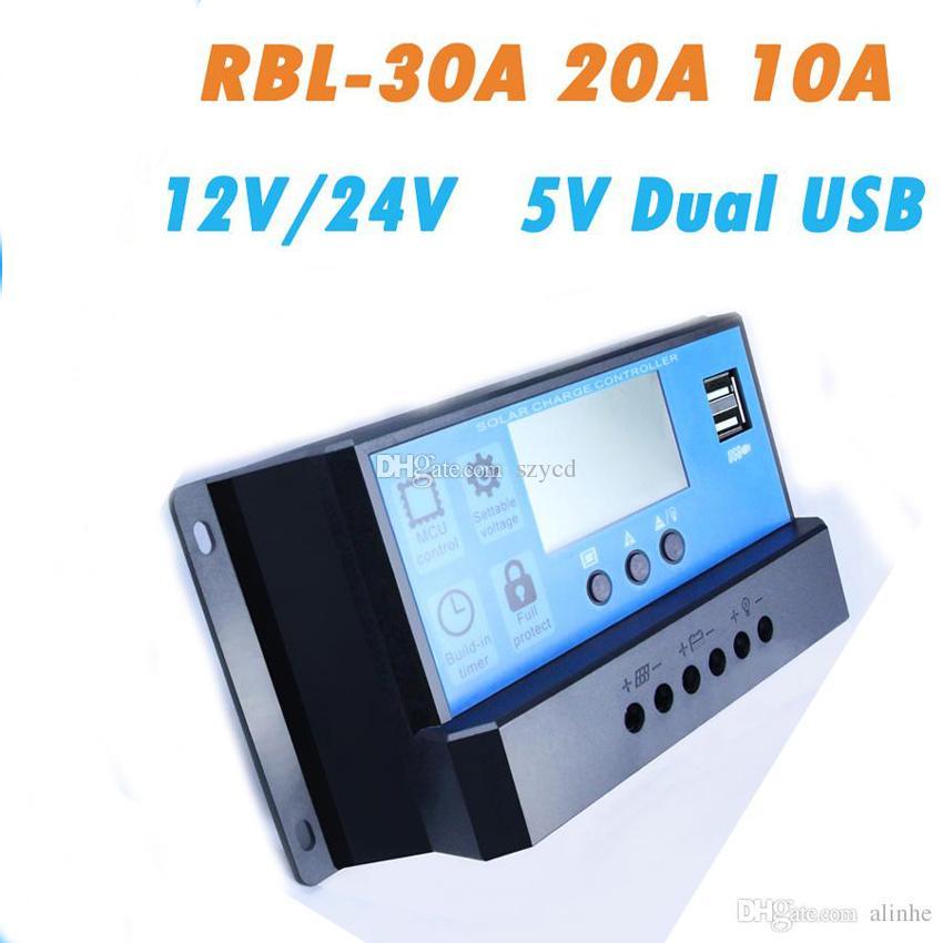 10/20 / 30A double chargeur de sortie de régulateur de charge de régulateur de batterie de panneau solaire USB 12V 24V