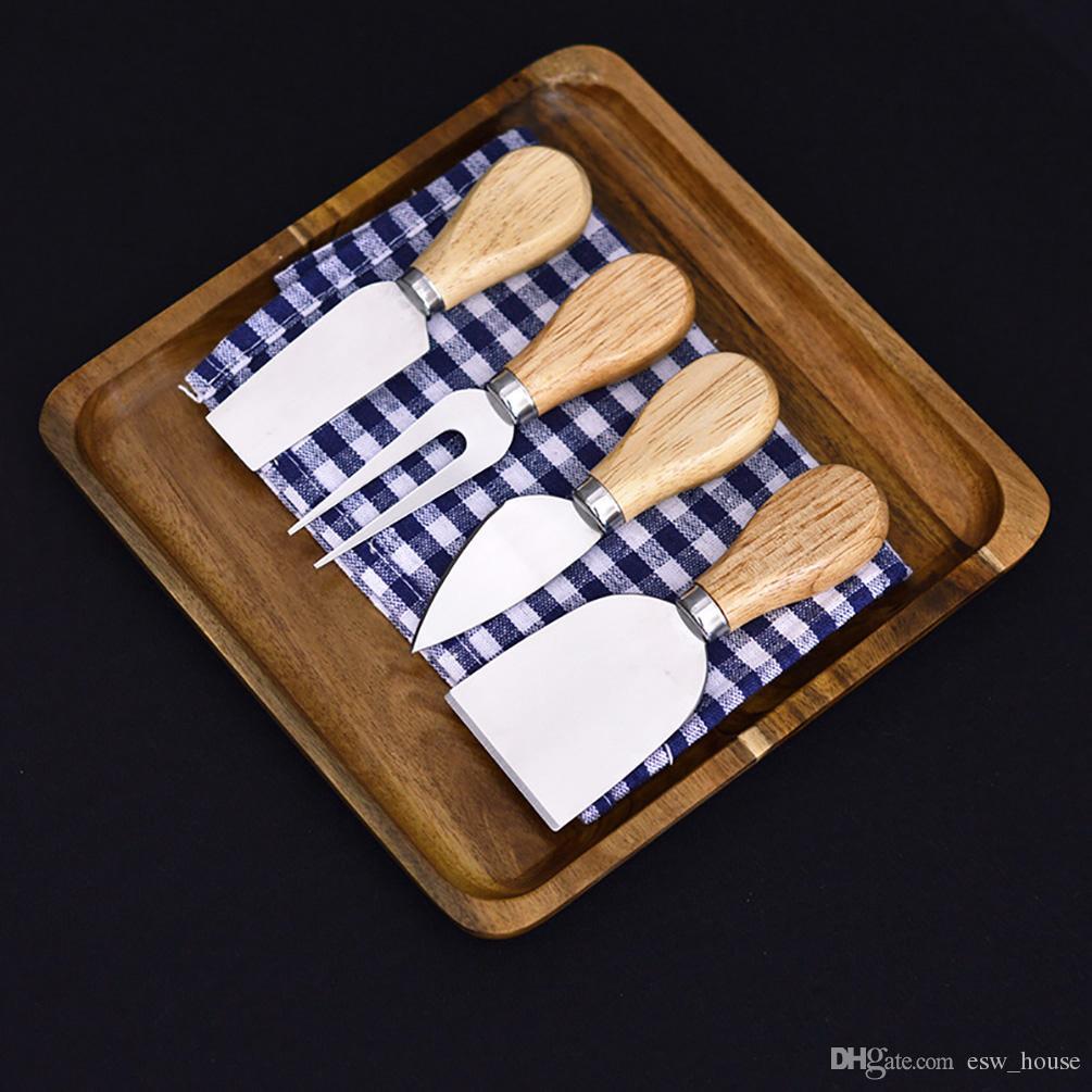 Coltello formaggio 4 pezzi con manico in legno ROVERE Coltello formaggio in acciaio inox Coltello formaggio Coltelli Utensili da cucina