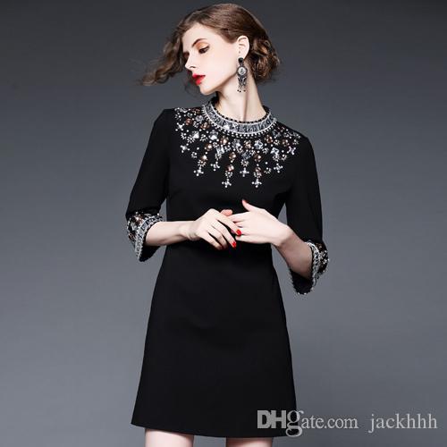 dce0cf1a6174 Satın Al Moda 2018 Marka Kadın Tek Parça Elbise Marka Tasarımcısı Elbise  Klas Pist Elbiseler Elmas Boncuk Lüks Elbise Siyah XL XXL 84748
