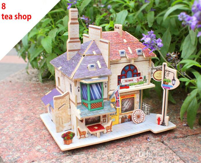 Hot Magic 3D Puzzle para niños Juguetes educativos DIY Madera Puzzles Jigsaw House Castle Edificio famoso