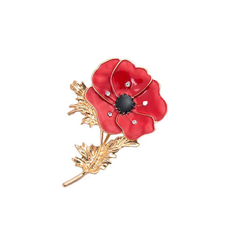 Golden Poppy Flower Crystal Brooches Pins For Women Men Shirt Collar Lapel  Pin Enamel Breastpin Vintage Broach Jewelry Red Pink Blue Purple