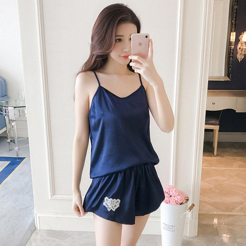 9219befd76 2019 Korea Style Sexy Summer Female Silky Satin Sleepwear Set With Shorts Pajamas  For Women Sexy Nightwear Home Clothes Plus Size  40 From Meinuo003