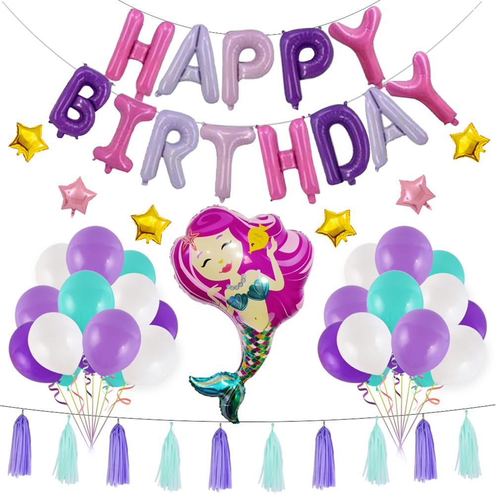 Birthday Decorations Mermaid Theme Shaped Latex Balloons Party Supplies Photo Backdrop For School Home 60th Pink