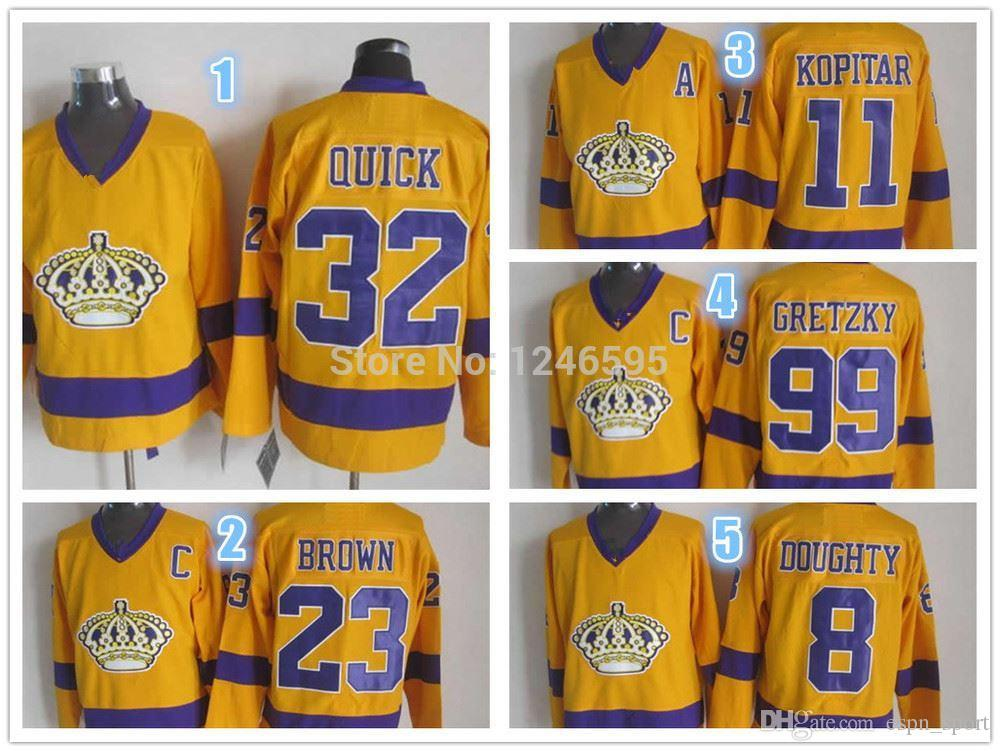 b7d398512 2019 Factory Outlet Los Angeles Kings Hockey Jerseys Alternate Wayne  Gretzky Anze Kopitar Jonathan Quick 8 Drew Doughty 23 Brown Yellow Jerseys  From ...