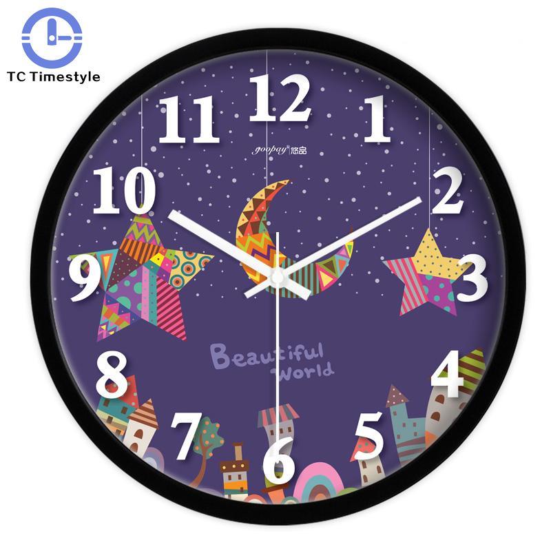 Purple Moon And Star Living Room Quiet Quartz Wall Clock Home