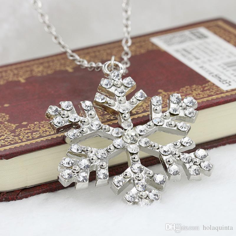Año nuevo Regalo de Navidad Moda Lujo Brillante rhinestone Collar de Copo de nieve Colgantes Cadena collar largo joyería de las mujeres