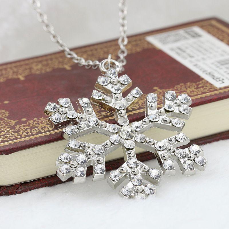 New Year Christmas Gift Fashion Luxury Shiny rhinestone Snowflake Necklace Pendants Chain long necklace jewelry women
