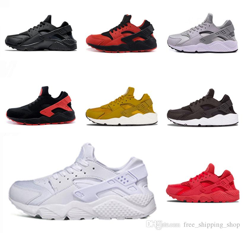 51e7eaae2a3f1 Authentic HUARACHE 1.0 Triple White Cushioning Men S Running Shoes Women  Black White Grey Gold All Red Red Black Sports Tennis Shoes Kids Running  Shoes ...