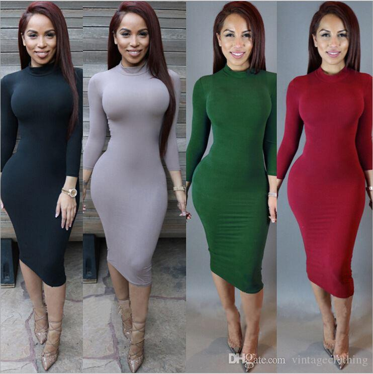 Cotton Stretch Black Party Dresses Sexy Women Bodycon Dress Winter