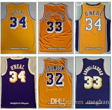 6a1db5fdff62 Men Cheap Stitched Shirts 32 Johnson Jerseys 33 Abdul Jabbar Shirt ...