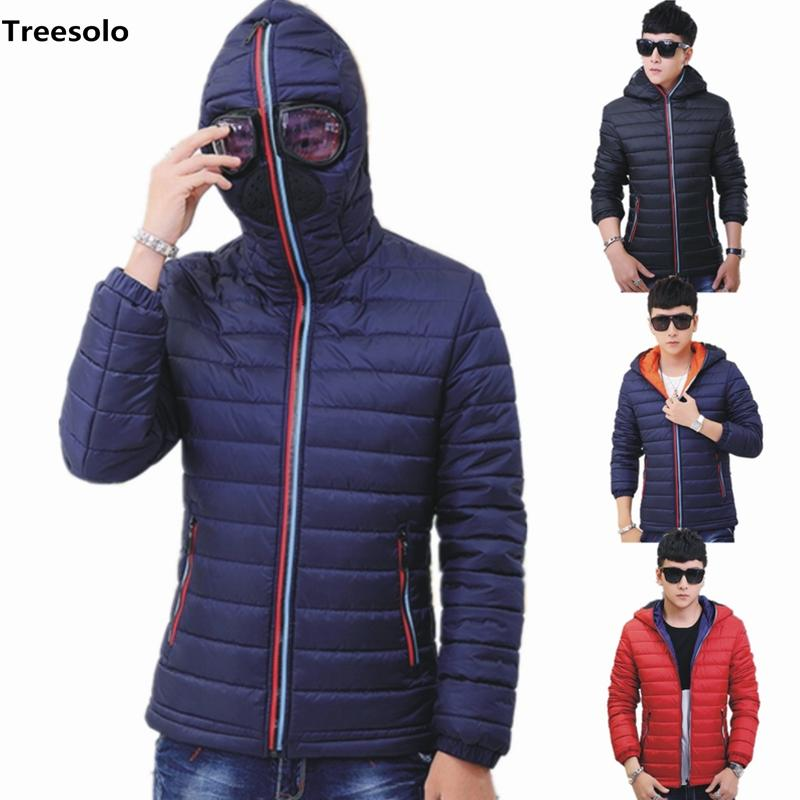 Hooded with Glasses winter jacket men New Winter Warm Fancy clothing Man  Casual Fashion Solid Coat Jacket Wholesale 1050