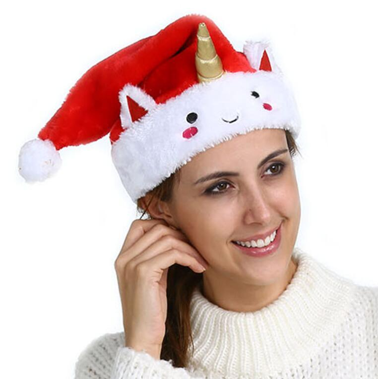 2019 Unicorn Christmas Hat Red Anime Cartoon Santa Claus Bonnet Xmas Party  Cosplay Hats Soft Stuffed Animal Gift Christmas Caps GGA1284 From  Kids dress 2569cc6ddb76